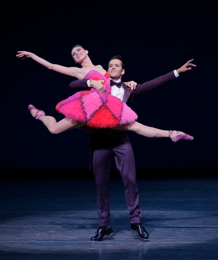 Tiler Peck performing at the NYC Ballet, wearing a costume by Mr. Valentino.
