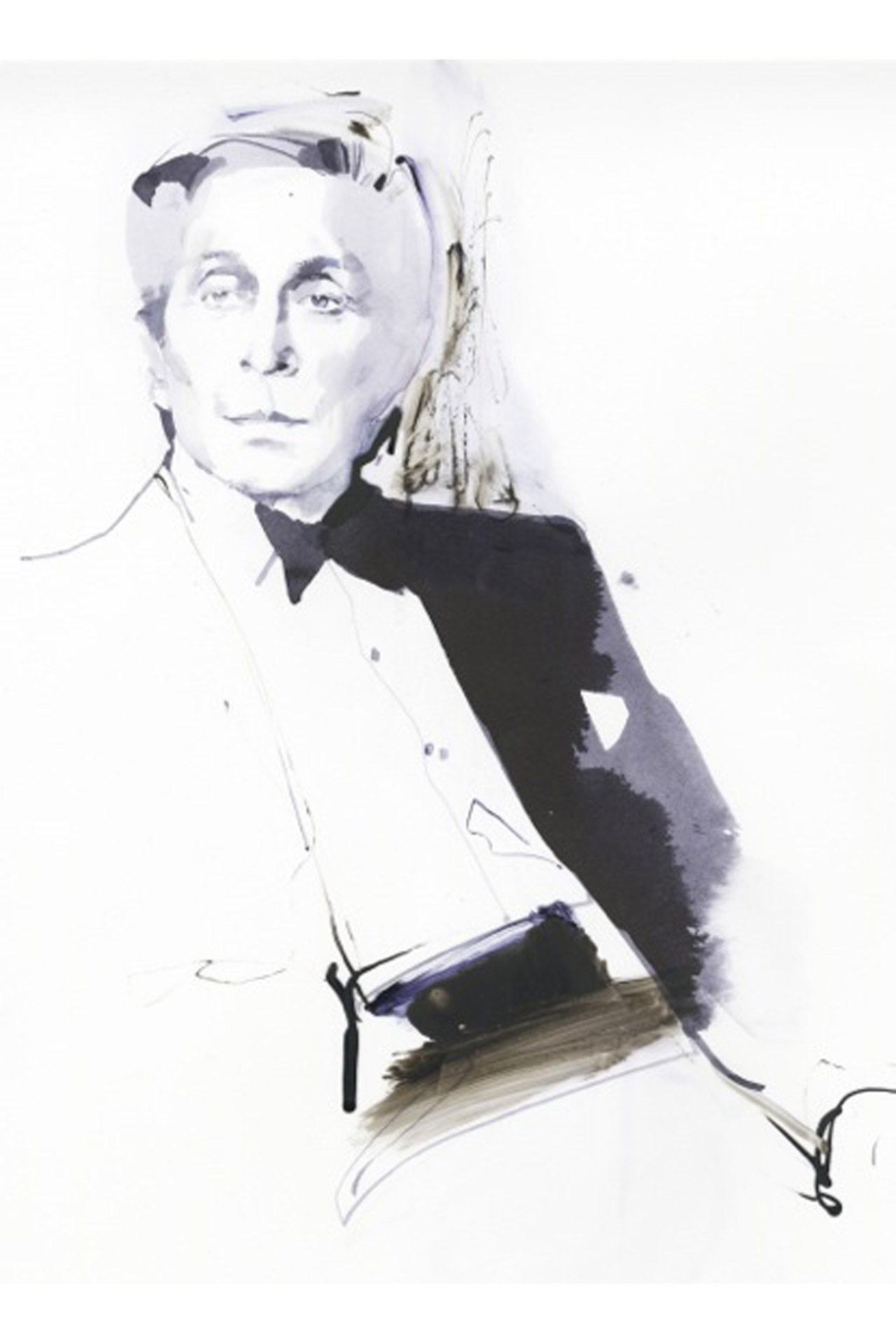 Portrait of Mr. Valentino drawn by fashion illustrator David Downton, who is famous for his calligraphic artworks